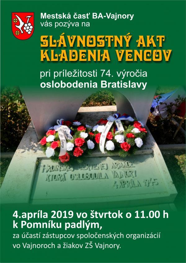 74. výročie oslobodenia Bratislavy 4. apríla 2019