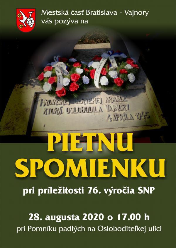 Pietna spomienka pri príležitosti 76. výročia SNP 28. augusta 2020