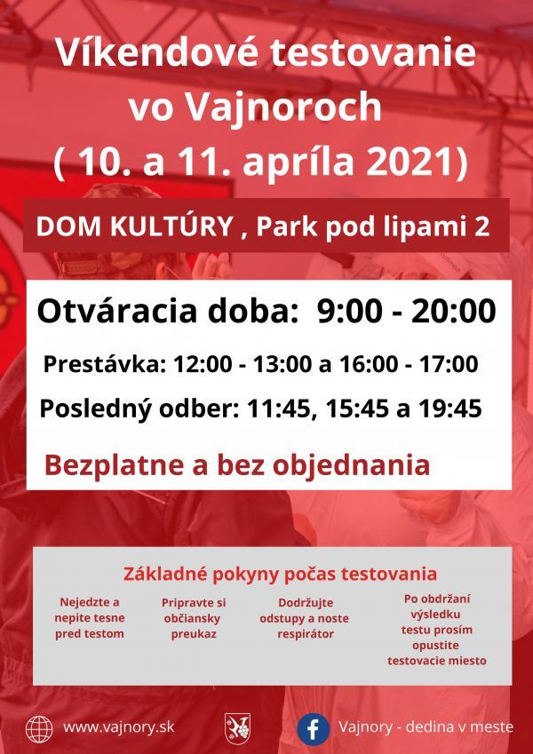 Testovanie vo Vajnoroch bez objednania cez víkend 10.-11.4.2021