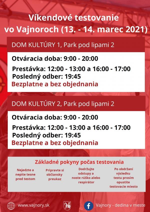 Testovanie vo Vajnoroch bez objednania cez víkend 13.-14.3.2021