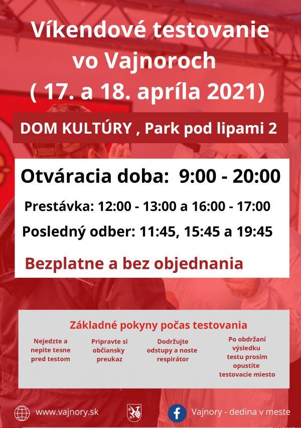 Testovanie vo Vajnoroch bez objednania cez víkend 17.-18.4.2021