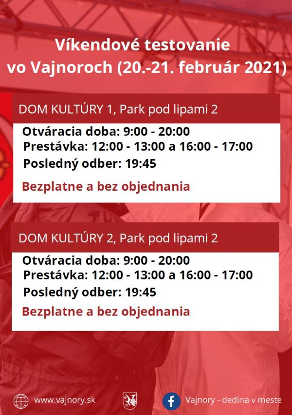 Testovanie vo Vajnoroch bez objednania cez víkend 20. -21. 2. 2021