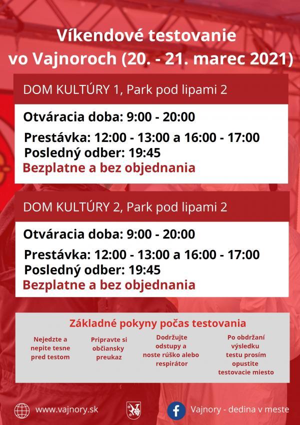 Testovanie vo Vajnoroch bez objednania cez víkend 20.-21.3.2021