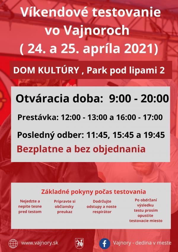 Testovanie vo Vajnoroch bez objednania cez víkend 24.-25.4.2021