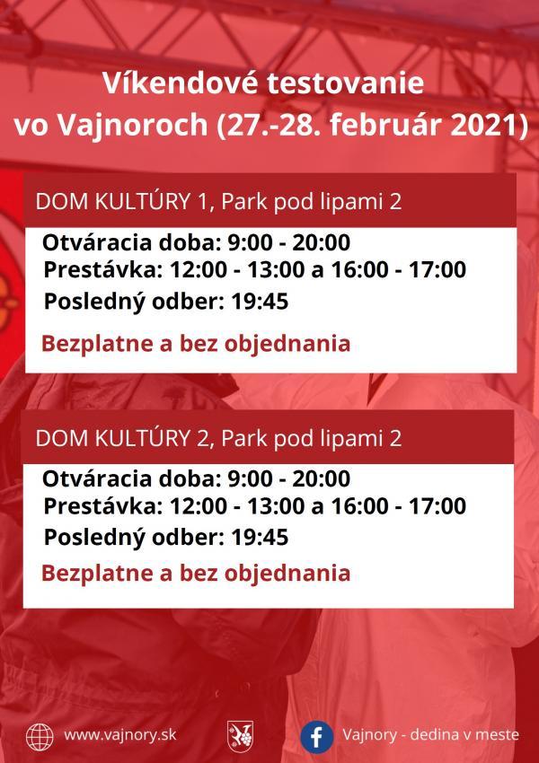 Testovanie vo Vajnoroch bez objednania cez víkend 27. -28. 2. 2021