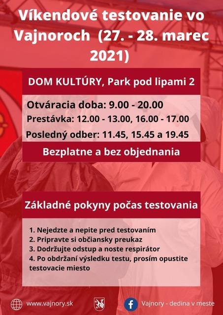 Testovanie vo Vajnoroch bez objednania cez víkend 27.-28.3.2021