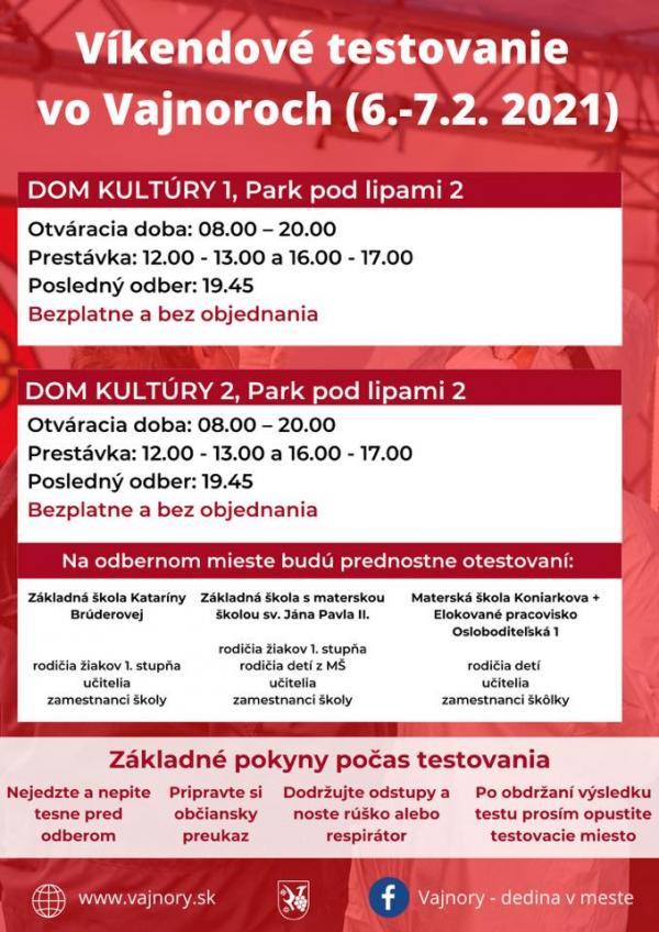 Víkendové testovanie vo Vajnoroch (6.-7. február 2021)
