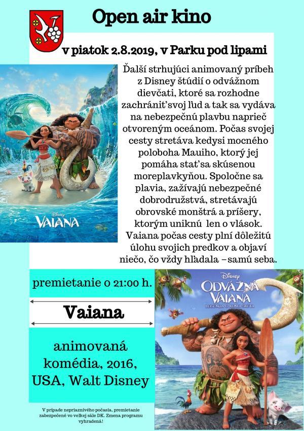 Letné kino: Vaiana 2. augusta 2019
