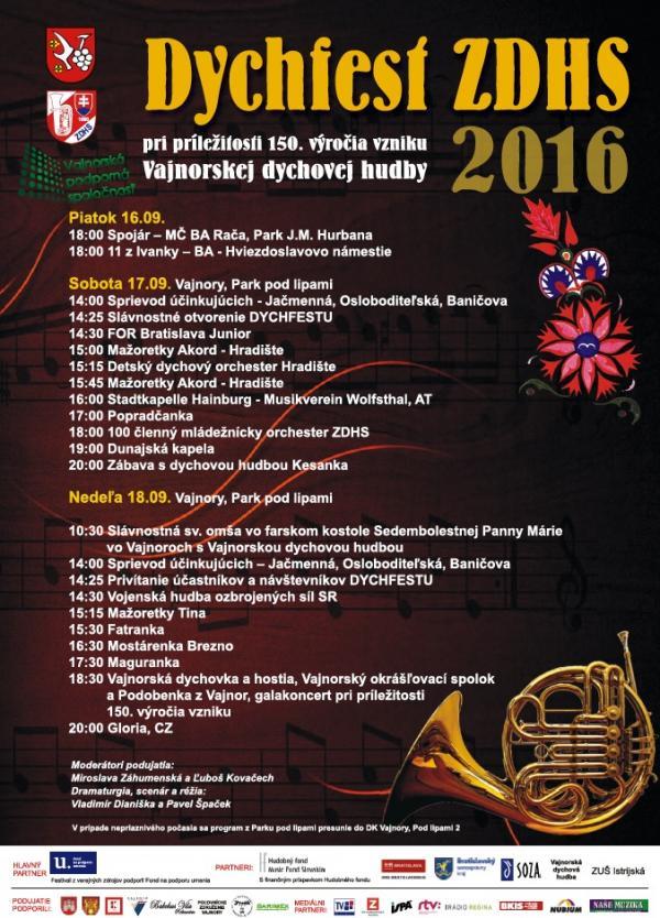 Dychfest 2016 a 150. výročie dychovej hudby vo Vajnoroch