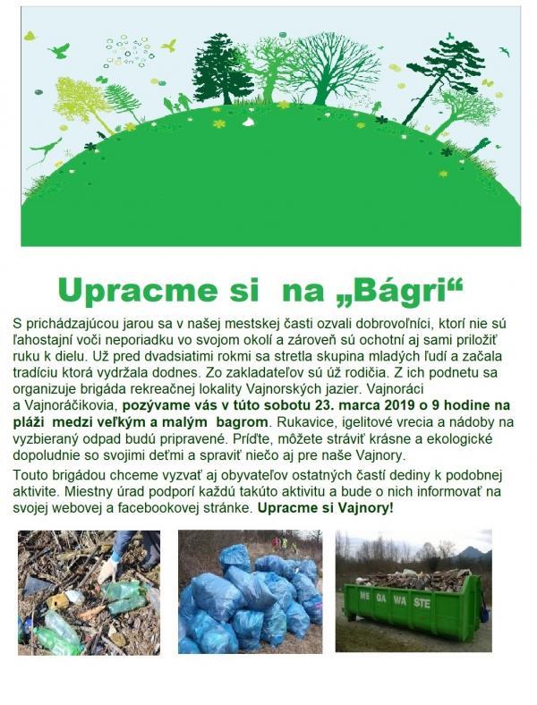 """Upracme si  na """"Bágri"""" už túto sobotu 23. marca 2019"""