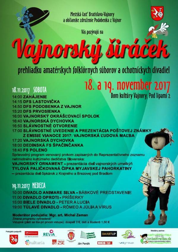 Vajnorský širáček – 18. a 19. novembra 2017 v Dome kultúry Vajnory